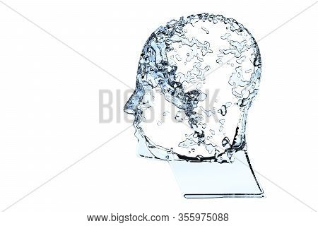 Human Head Shape Filled With Blue Water Isolated On White Background - Hydration, Healthy Lifestyle