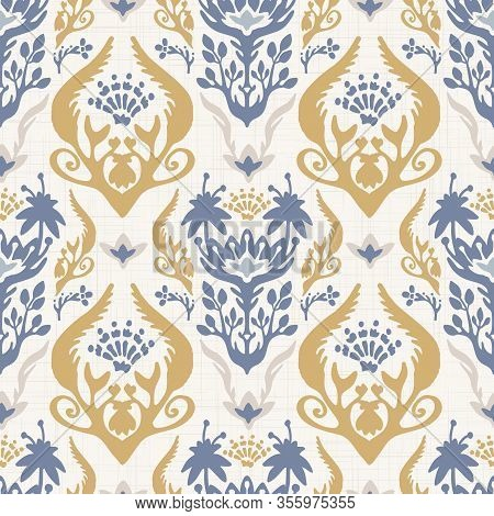 French Shabby Chic Damask Vector Texture Background. Antique White Yellow Blue Flourish Seamless Pat