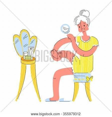Vector Flat Illustration Elderly Woman Who Examines Her Feet For Timely Diagnosis, Treatment Of Diab