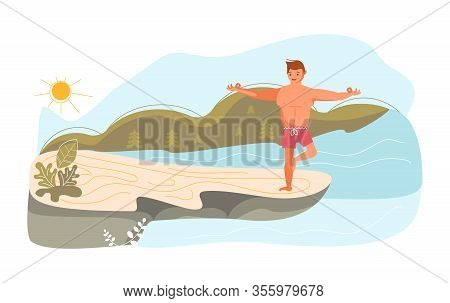 Young Man On A High Rock Of Cliff Above The River In Yoga Pose. Metaphor Of Freedom And Harmony With