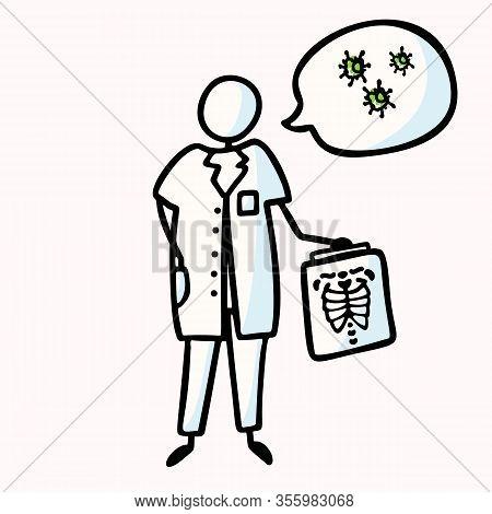 Corona Virus Covid 19 Stick Man Doctor Explainer Infographic. Viral Flu Lung Xray Spread News Alert.