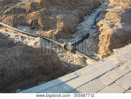 Plastic Pipe For Laying Underground Electrical Cables For Communication Wires.
