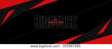 Abstract Wide Window Of Black And Red Technology Template Design Artwork Background. Use For Ad, Pos