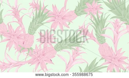 Floral Seamless Pattern, Pink And Green Bromeliaceae On Blue Background, Pastel Vintage Theme