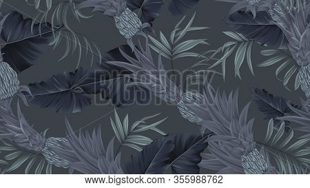 Floral Seamless Pattern, Black Bromeliaceae With Tropical Leaves On Black Background, Pastel Vintage