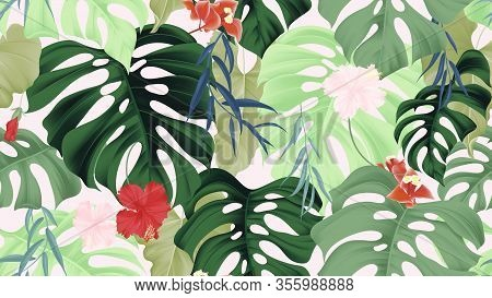 Floral Seamless Pattern, Tropical Plants, Split-leaf Philodendron Plant, Hibiscus Flowers, Weeping W