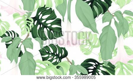 Floral Seamless Pattern, Brugmansia Or Angels Trumpet Flowers And Split-leaf Philodendron Plant On L