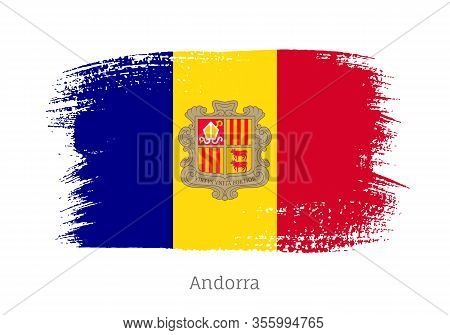 Andorra Flag In Shape Of Paintbrush Stroke. National Identity Symbol. Grunge Brush Blot Object Isola