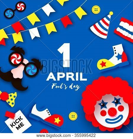 1 April Fools Day. Funny Crazy Mask Glasses. Kick Me Prank Paper Sticker. Funny Clown, Red Wig. Clow