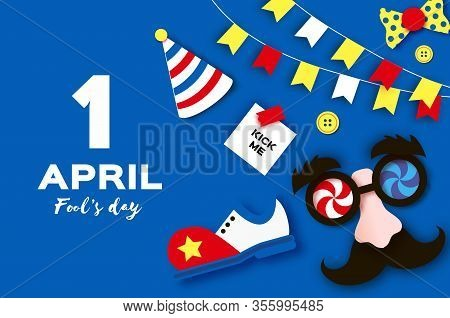 1 April Fools Day. Funny Crazy Mask Glasses. Kick Me Prank Paper Sticker. Clown Shoes And Bow In Pap