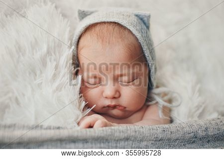 A Newborn Baby In A Knitted Hat With Ears. Imitation Of A Baby In The Womb. Portrait Of A Newborn..