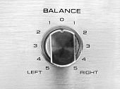 the channel balance on a hi-fi unit signifying political balance / bias poster