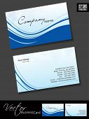 Professional and designer business card template or visiting card set with blue waves. EPS 10. poster