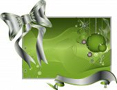 Green background pattern vector illustration with a large silver bowtie and ribbon poster