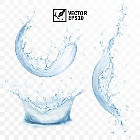 Realistic Transparent Isolated Vector Set Splash Of Water With Drops, A Splash Of Falling Water, A S