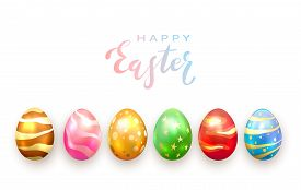 Colored Easter Eggs With Decorative Patterns Isolated On White Background. Lettering Happy Easter Wi