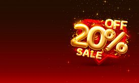 Sale 20 Off Ballon Number On The Red Background.