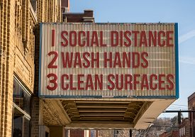 Movie Cinema Billboard With Three Basic Rules To Avoid The Coronavirus Or Covid-19 Epidemic Of Wash