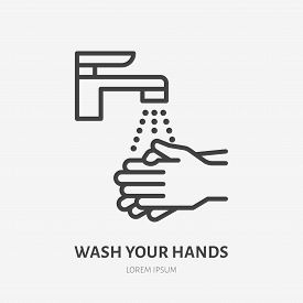 Wash Your Hands Line Icon, Vector Pictogram Of Personal Hygiene. Disease Prevention, Hand Disinfecti