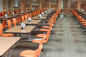 Cafeteria Or Canteen Interior. School Cafeteria. Factory Canteen With Chairs And Tables, Nobody. Mod