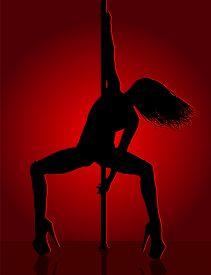 Romantic Dancing Girl In Red Light. Vector Illustration.