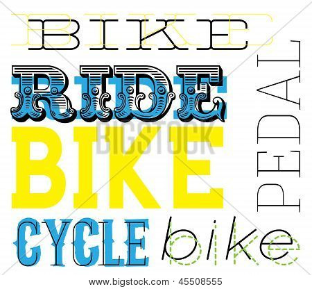 Cycle themed text design