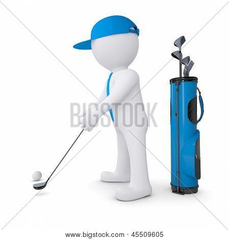 3d white man playing golf