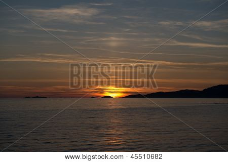 Blue Sky And Sunset On The Sanguinaires Island Of Ajaccio In Corsica, France