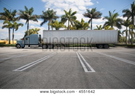 Semi estacionado con fondo Tropical