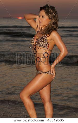 Beautiful Woman Posing In Bikini At Sunset Beach