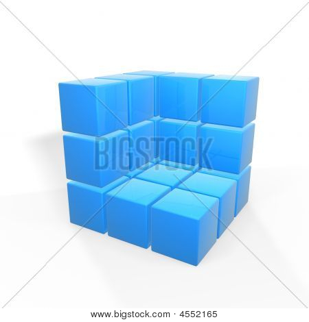 half box of blue cubes isolated on white background poster