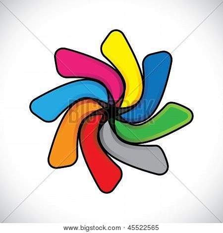 Abstract Colorful Child Toy Colgadura(whirligig)- Vector Graphic