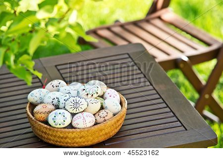 Easter Eggs On The Table
