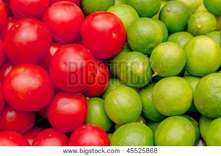 two colors of fresh fruits and vegetables set