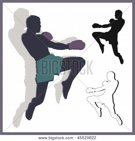 Flying knee of muay thai (Martial Arts) in silhouette poster
