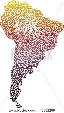 Abstract illustration of surreal symbol of South America as a jaguar skin and heads poster