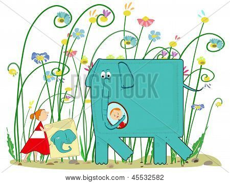 Elephant, Girl And Presents