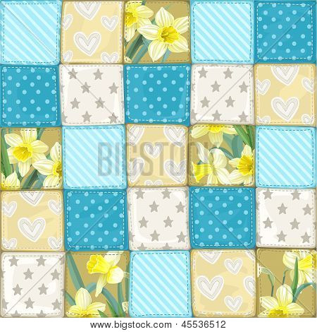 Seamless pattern from scrappy blanket from multi-colored slices of fabric in blue scale