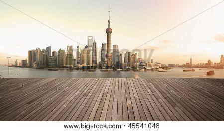 Shanghai Bund Landmark Skyline städtischen Gebäuden Landschaft