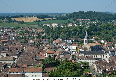 Ancient French Town Orthez And Its Outskirts From Above