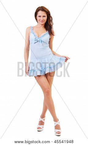 Flirtatious Girl In A Short Dress