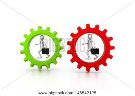 Business man running in gear. business competition concept