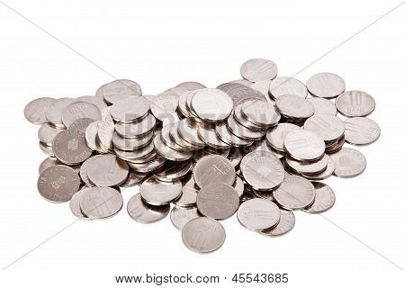 Coins Shot On A White Background