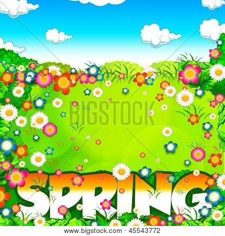 Spring Word, Flowers Meadow And Sky