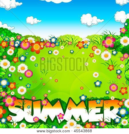 Summer Word, Flowers Meadow And Sky