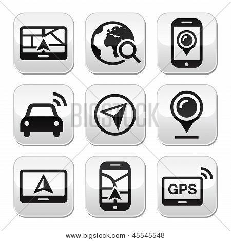GPS, navigation travel vector buttons set