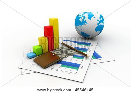 Business graph chart and money