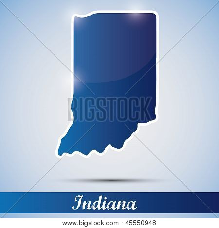 shiny icon in form of Indiana state, USA