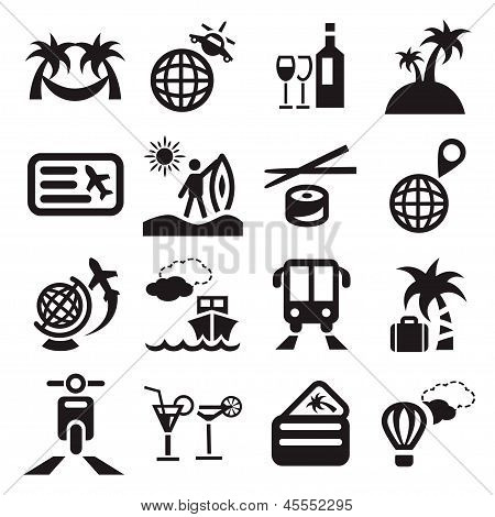 poster of Elegant Travel Icons Set Created For Mobile, Web And Applications.