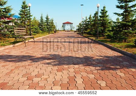Wide Path In Nice Light  Park Under Blue Sky
